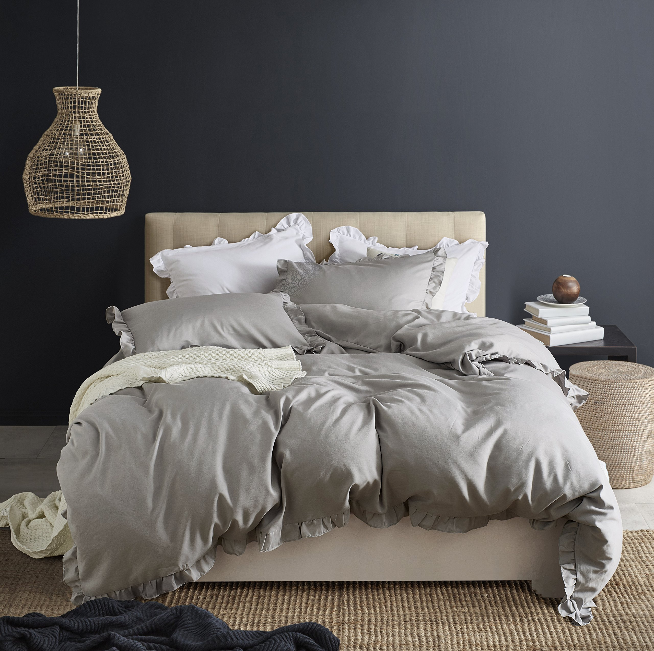 WAFTING Lightweight Duvet Cover Set with Zipper Closure Queen 90''x90'',3 Pieces Solid Color Light Grey Bedding Set with 2 Pillow Shams,Exquisite Ruffles Design,Best Bedding Gifts - without Comforter