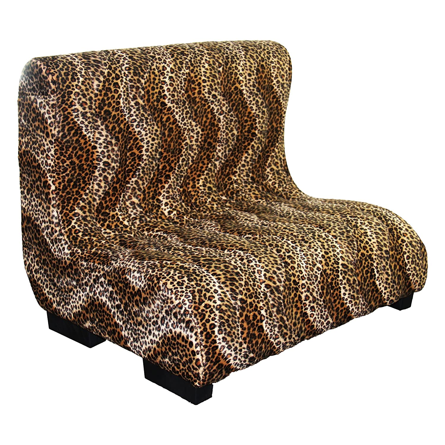 ORE International Plush Leopard Print Tufted Upholstery Pet Bed, 23-Inch