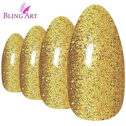 Uñas Postizas Bling Art Estilete Oro Gel 24 Almendra Largo Falsas ...