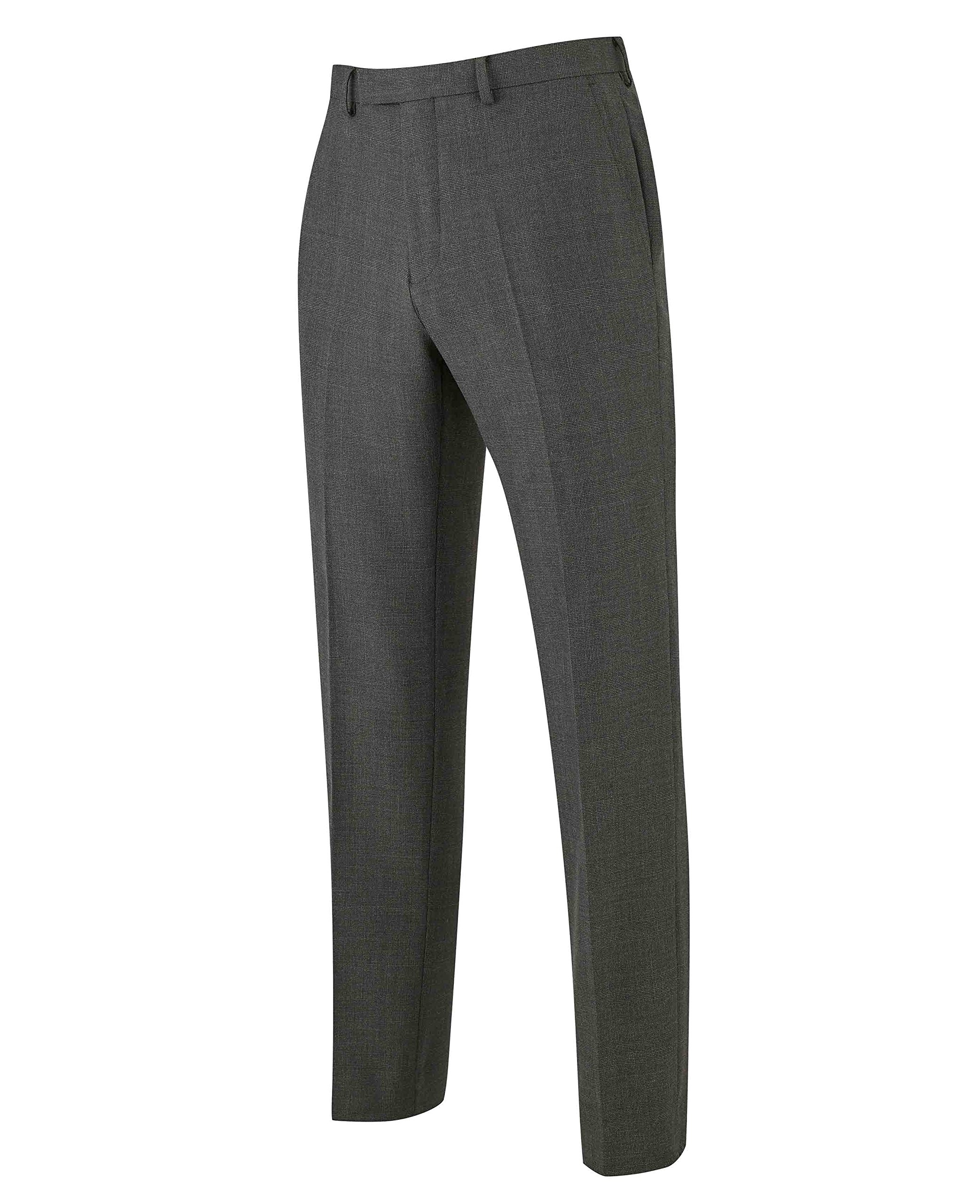 The Savile Row Company Savile Row Men's Grey Prince of Wales Check Business Suit Trousers 36'' 30''