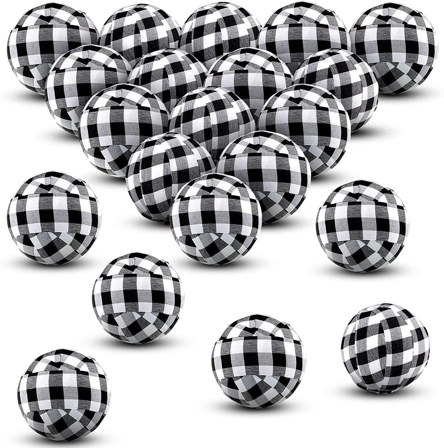 Buffalo Check Balls Plaid Fabric Wrapped Balls 1.57 Inch Gingham Bowl Fillers for Christmas Thanksgiving Holiday Farmhouse Home Party Decoration Favors (20 Pieces)