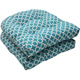 "Pillow Perfect Outdoor/Indoor Hockley Teal Tufted Seat Cushions (Round Back), 19"" x 19"", Blue, 2 Pack"