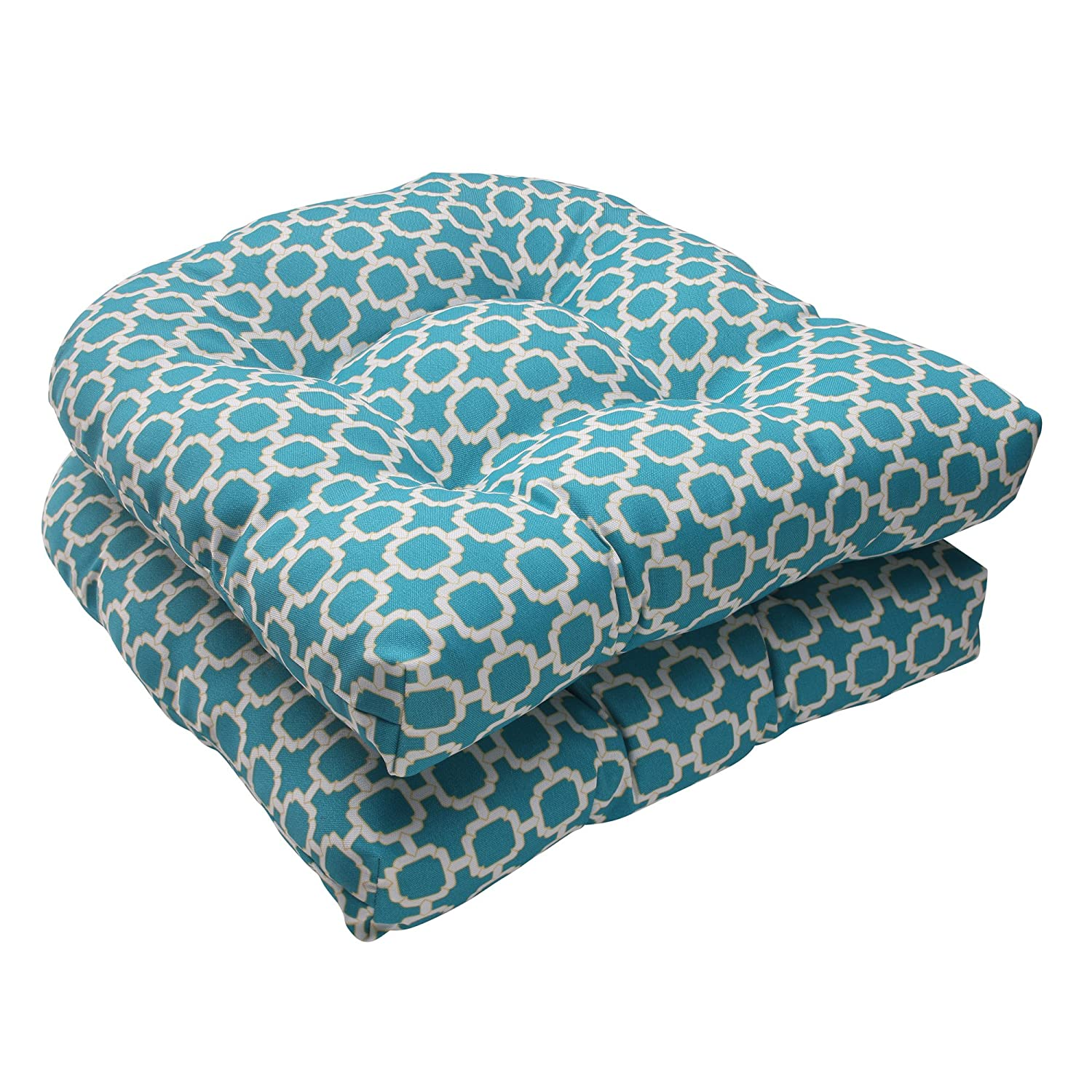amazoncom pillow perfect hockley wicker seat cushion teal set of 2 home u0026 kitchen - Replacement Cushions For Patio Furniture