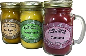 Our Own Candle Company Apple, Cinnamon, and French Vanilla Variety Scented Mason Jar Candles, 13 oz (3 Pack), Pie a La Mode Pack