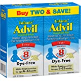 Advil Infants' Fever Reducer/Pain Reliever Dye-Free, 50mg Ibuprofen Concentrated Drops, White Grape Flavor 0.5 ounce- 2 count