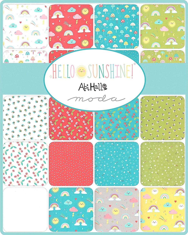 Hello Sunshine Mini Charm Pack by Abi Hall; 42-2.5 Inch Precut Fabric Quilt Squares