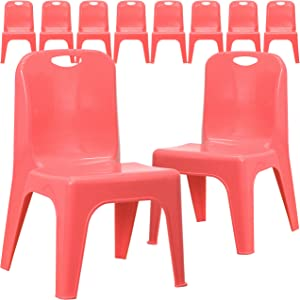 Flash Furniture 10 Pack Red Plastic Stackable School Chair with Carrying Handle and 11'' Seat Height