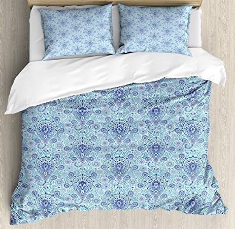 Light Blue Duvet Cover Set King Size By Ambesonne, Intricate Paisley  Pattern Traditional Persian Teardrop