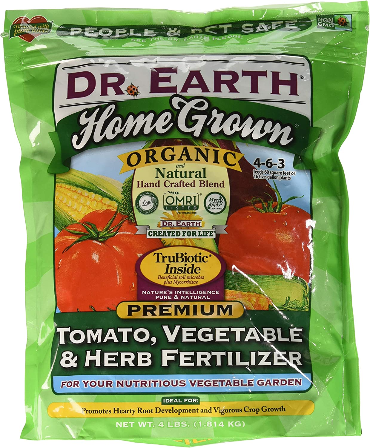Dr. Earth Organic 5 Tomato, Vegetable & Herb Fertilizer to amend soil