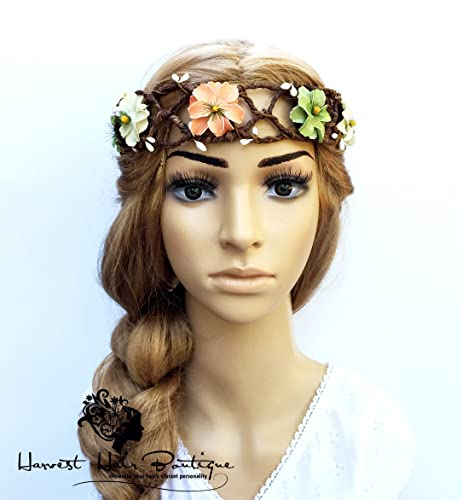 Amazon earthy boho flower headband white green and orange earthy boho flower headband white green and orange floral bohemian crown mightylinksfo
