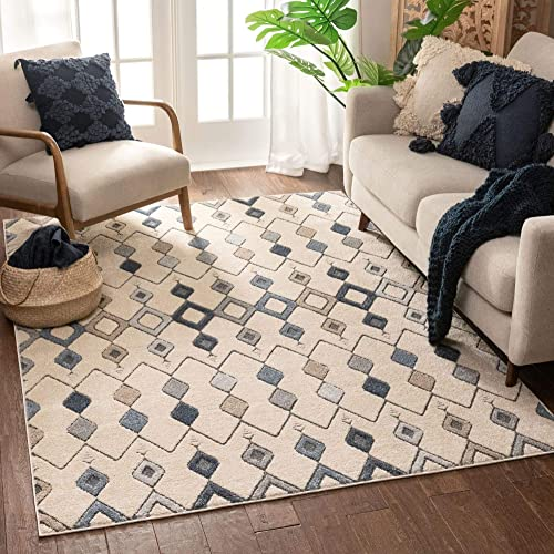 Well Woven Belail Blue Beige Tribal Diamond Trellis Pattern Area Rug 5×7 5'3″ x 7'3″