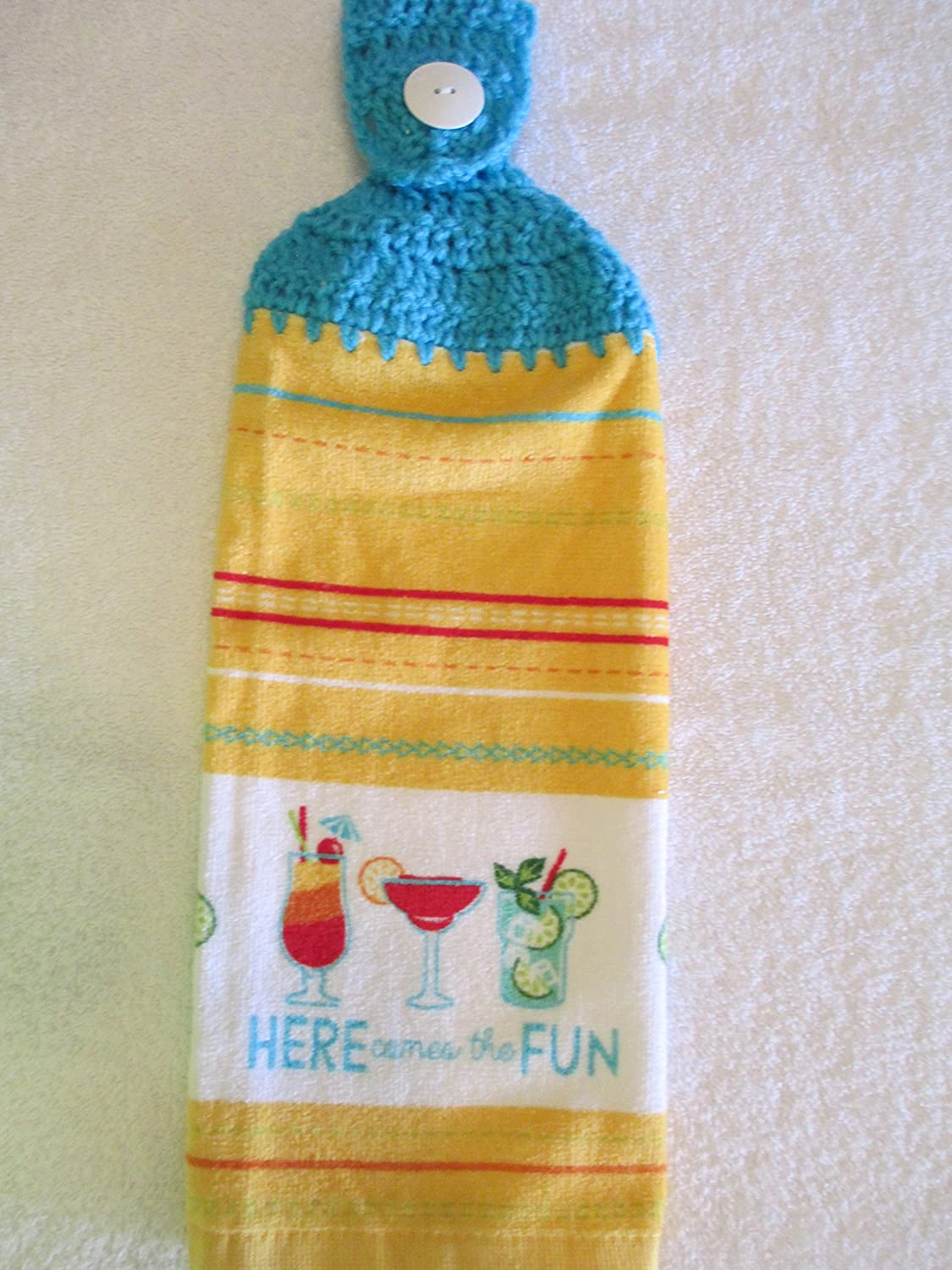 Crocheted Summer Here Comes the Fun Kitchen Towel with Turqua Yarn