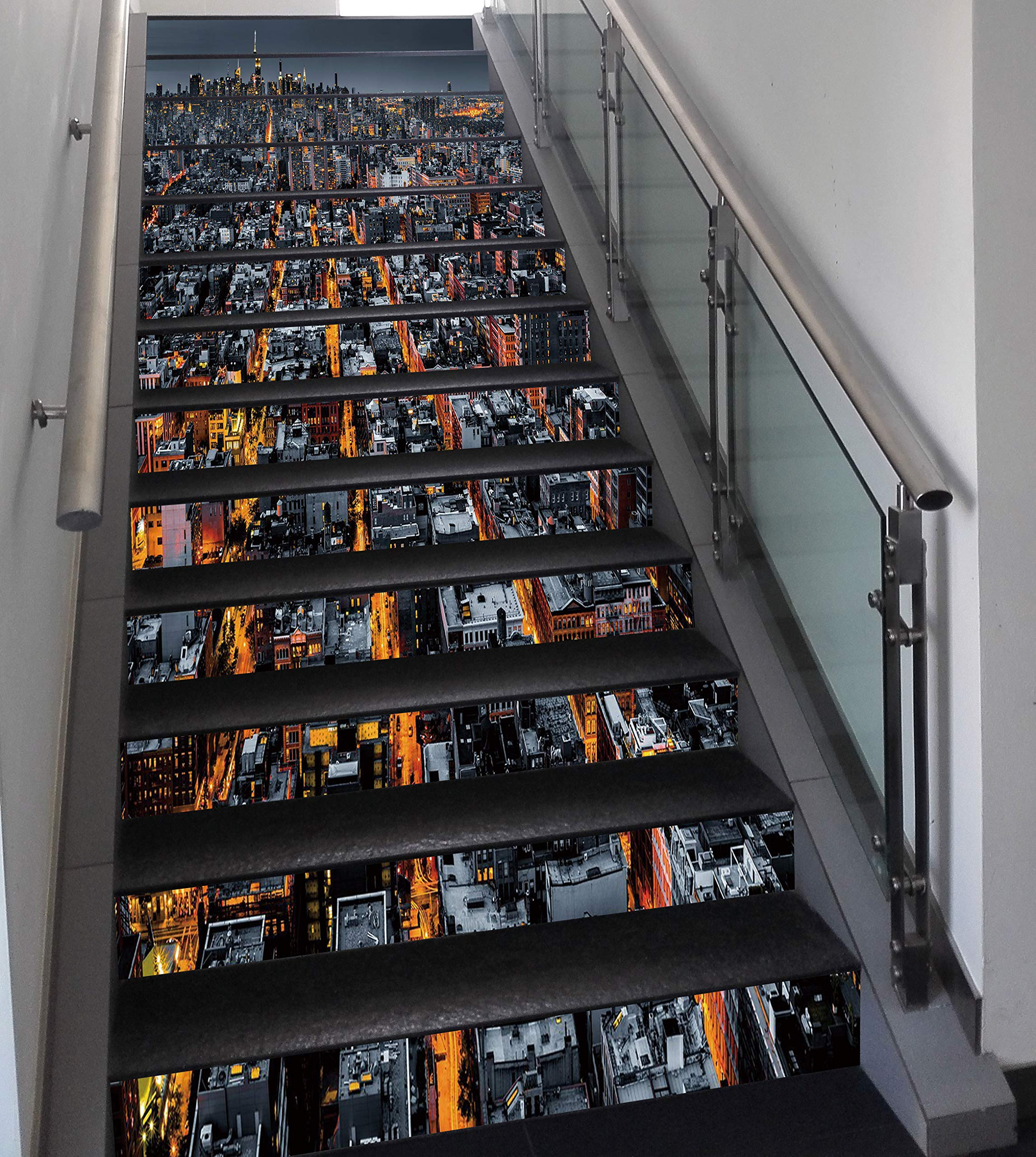 Stair Stickers Wall Stickers,13 PCS Self-adhesive,City,Avenues Converging Towards Midtown in New York America Architecture Aerial,Marigold Grey Black,Stair Riser Decal for Living Room, Hall, Kids Room
