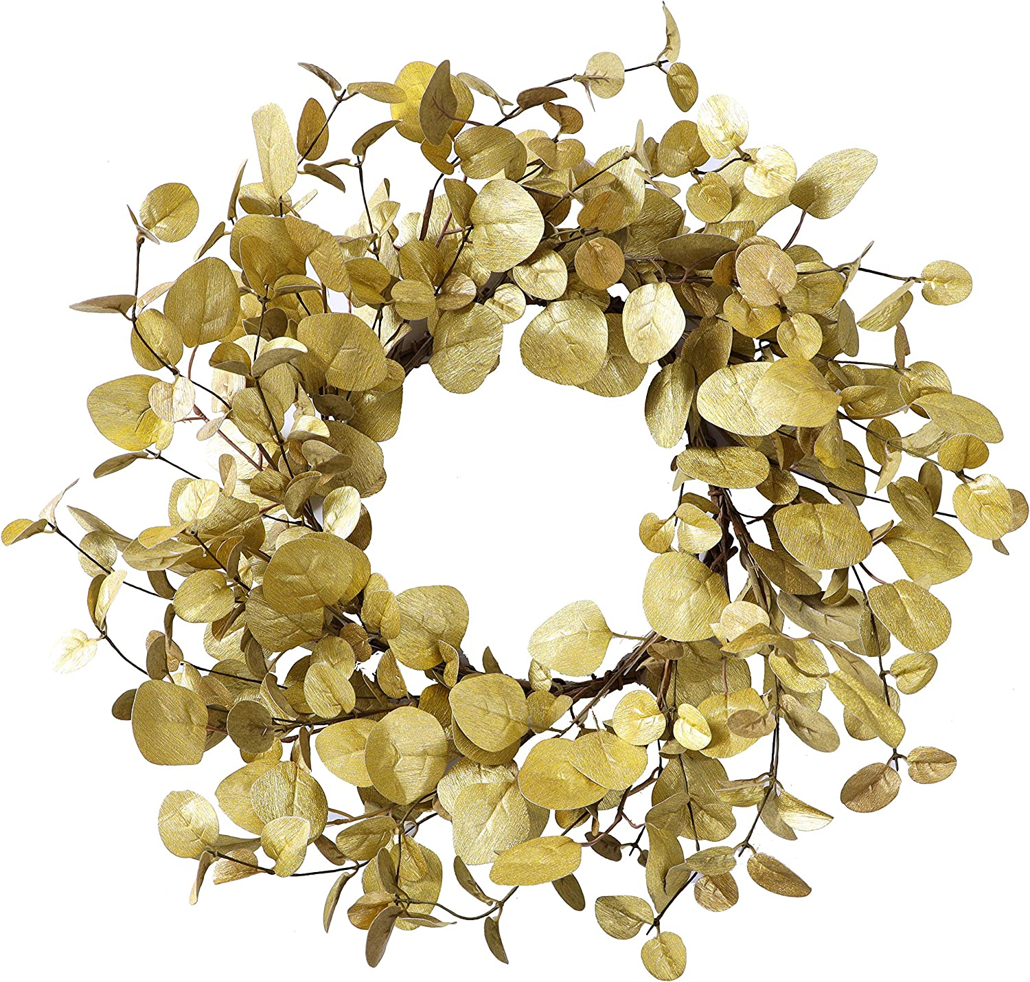 YNYLCHMX Christmas Wreath for Front Door, Artificial Door Wreath Flushed with Gold Eucalyptus Leaves, Home Decor for Wall, Fireplace, Indoor, Windows, Holiday, Party Decoration, 20 Inch