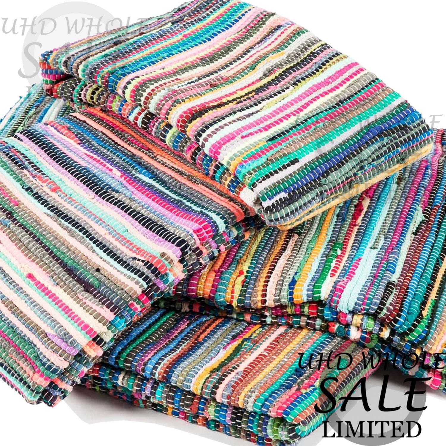 FB FunkyBuys® Fair Trade Large Small Multi Coloured Fringed Chindi Rag Rug Mat Carpet Runner - Choose from over Various Sizes! (50 x 80 cm)
