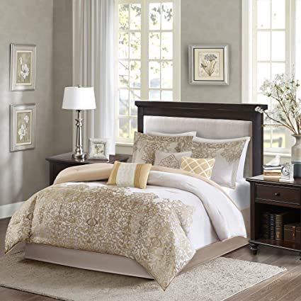 8acb983f03c6 Amazon.com: Madison Park Vanessa 7 Piece Comforter Set Gold Queen: Home &  Kitchen