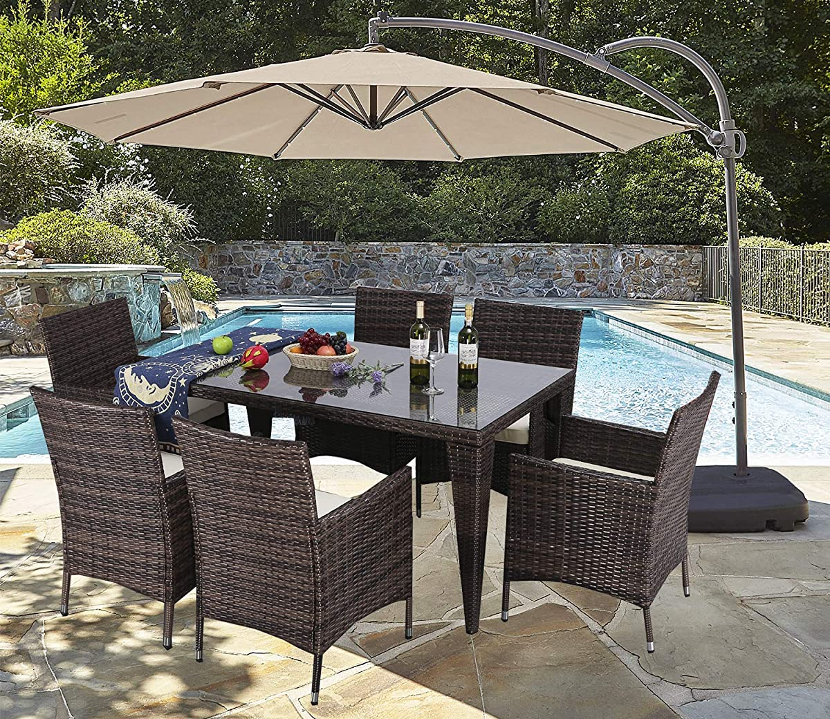 Do4U 7 Piece Patio Wicker Dining Set Complete Outdoor Rattan Dining Furniture Glass Table Cushioned Chair (Mixed-9025)