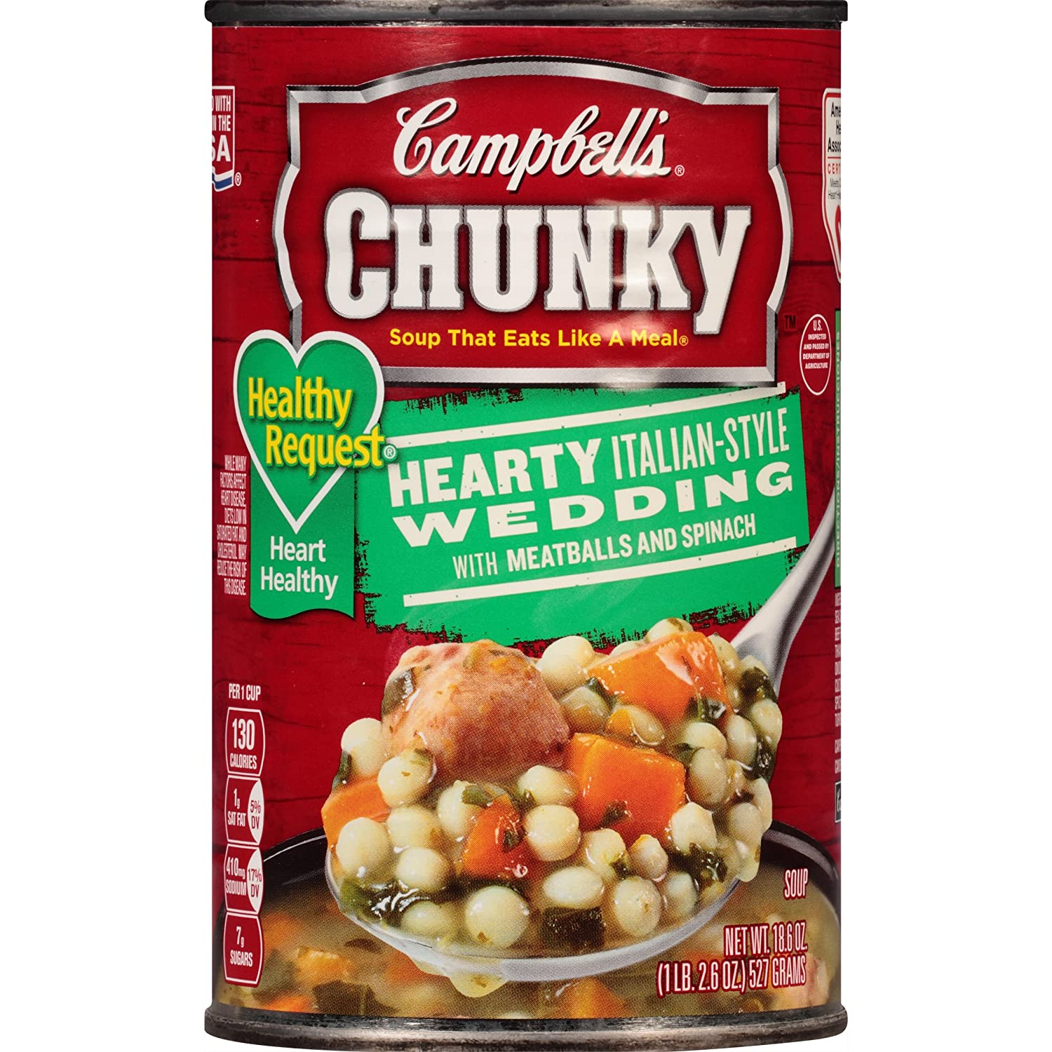amazoncom campbells chunky healthy request soup hearty italian style wedding with meatballs and spinach 186 ounce pack of 12 packaged beef soups