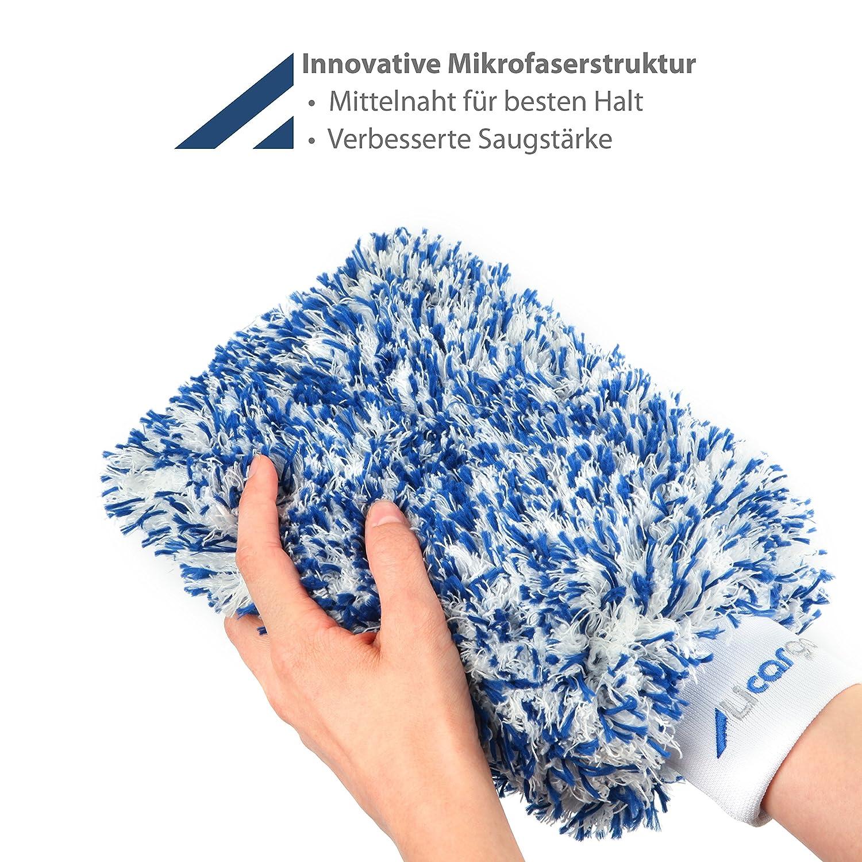 Blau Licargo Premium Autowaschhandschuh aus saugf/ähigster Mikrofaser Tausende begeisterte Kunden Makelloser Auto- und Felgenhandschuh zur Autoreinigung und Autoaufbereitung