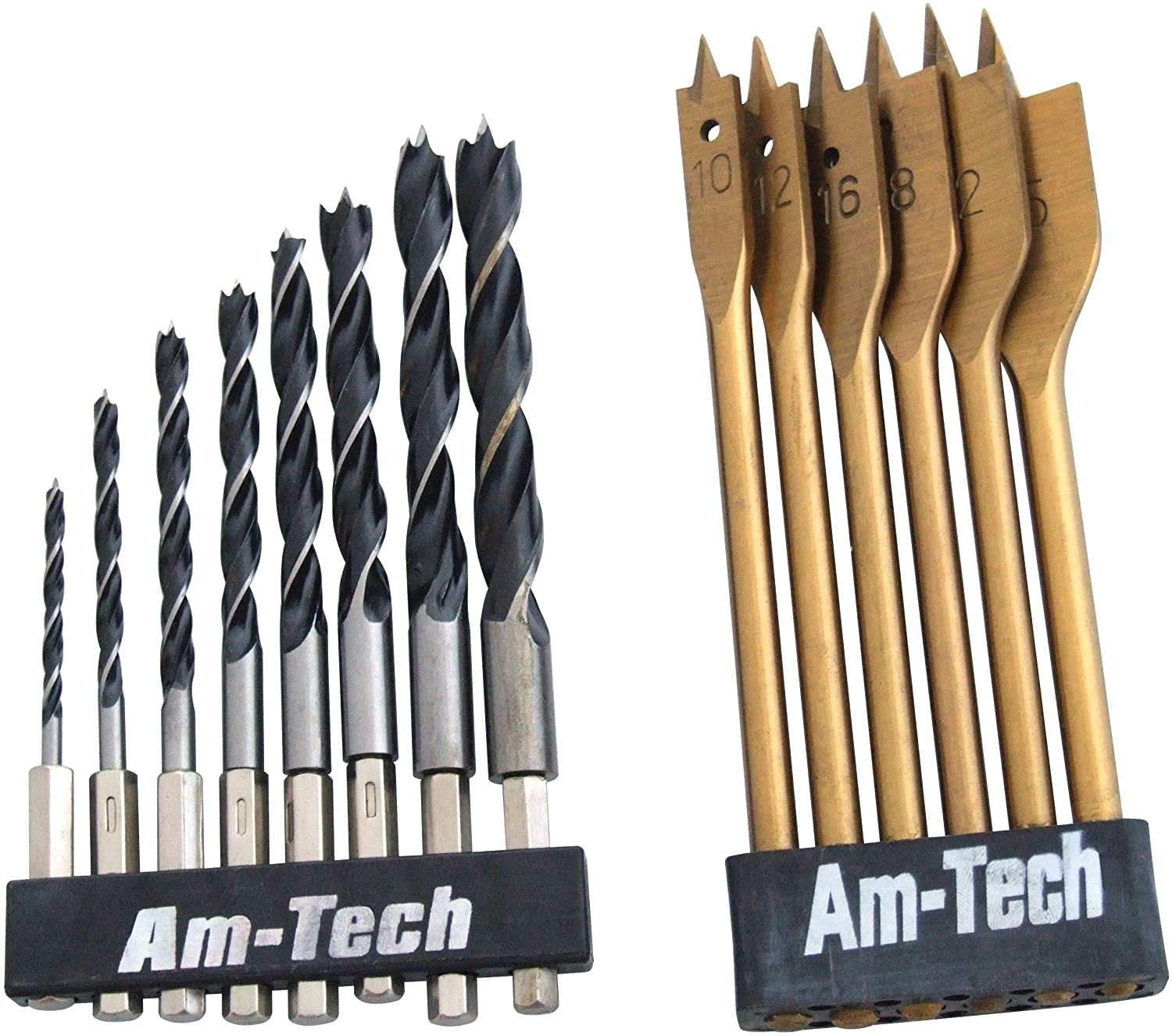 Amtech F1740 Hex Shank Wood Drill Set, 14-Piece AM-F1740