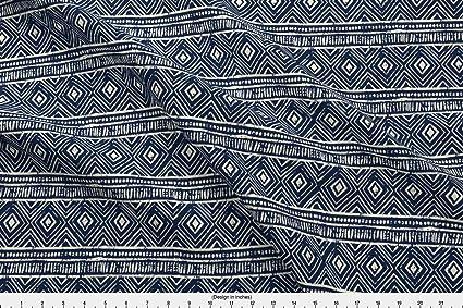 Amazoncom Spoonflower African Fabric Mud Cloth Navy Eggshell