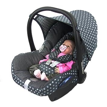 Bambiniwelt Ersatzbezug Für Maxi Cosi Cabriofix 6 Tlg Bezug Für Babyschale Komplett Set Sterne Dunkelgrau Xx Baby