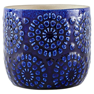 Stone & Beam Modern Cermaic Floral Embossed Decorative Planter Flower Pot, 4 x 5 x 4 Inches, Blue