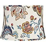 White with Paisley Print Drum Lamp Shade 14x16x11.5 (Spider) - Springcrest