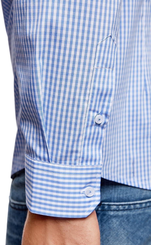oodji Ultra Uomo Camicia Extra Slim a Quadretti S 39cm Blu EU 39 IT 44