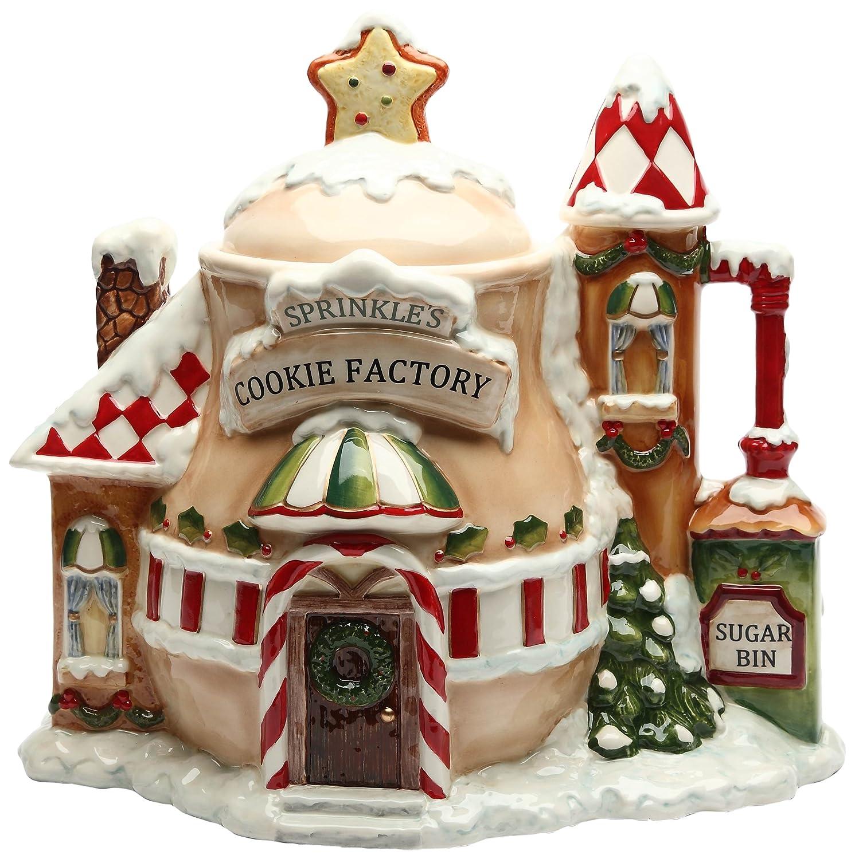 CG 10933 12.88 Sprinkles Cookie Factory Christmas Village House Cookie Jar