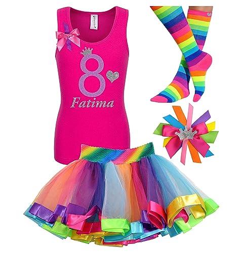 Amazon 8th Birthday Shirt Rainbow Princess Tutu Outfit 4PC Gift