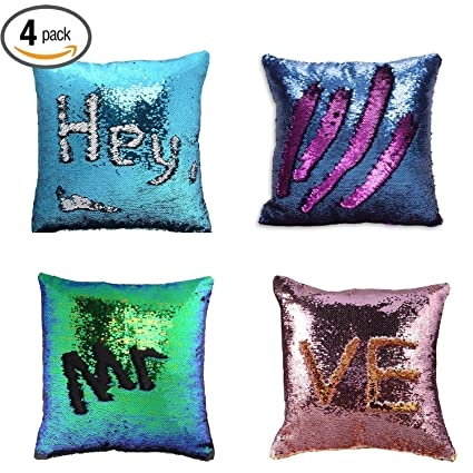 wonder4 pillow case sequins cushion cover 4pack reversible mermaid throw pillow case color changing sequins standard - Color Changing Pillow