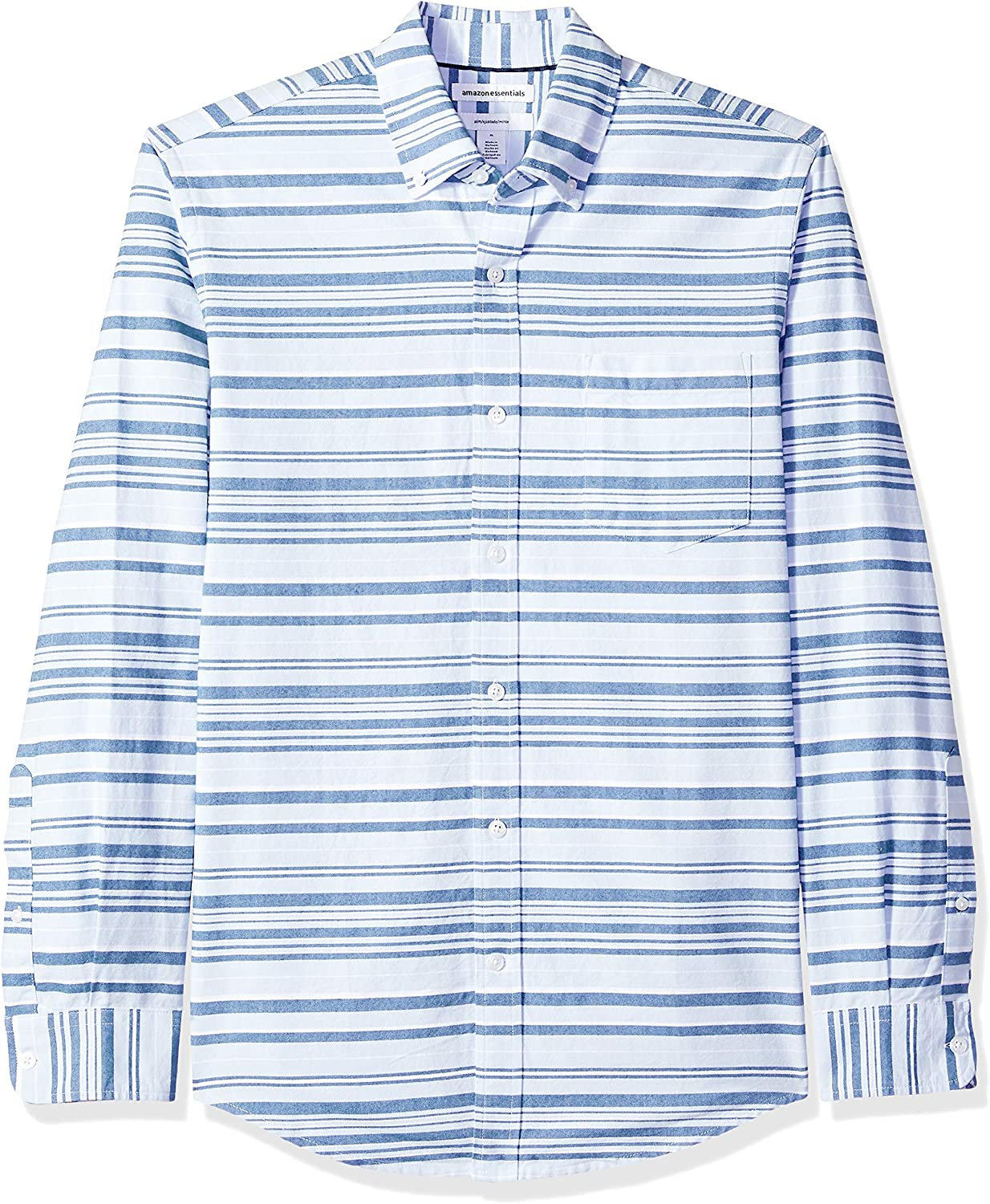 Essentials Slim-fit Long-Sleeve Stripe Pocket Oxford Casual Shirt