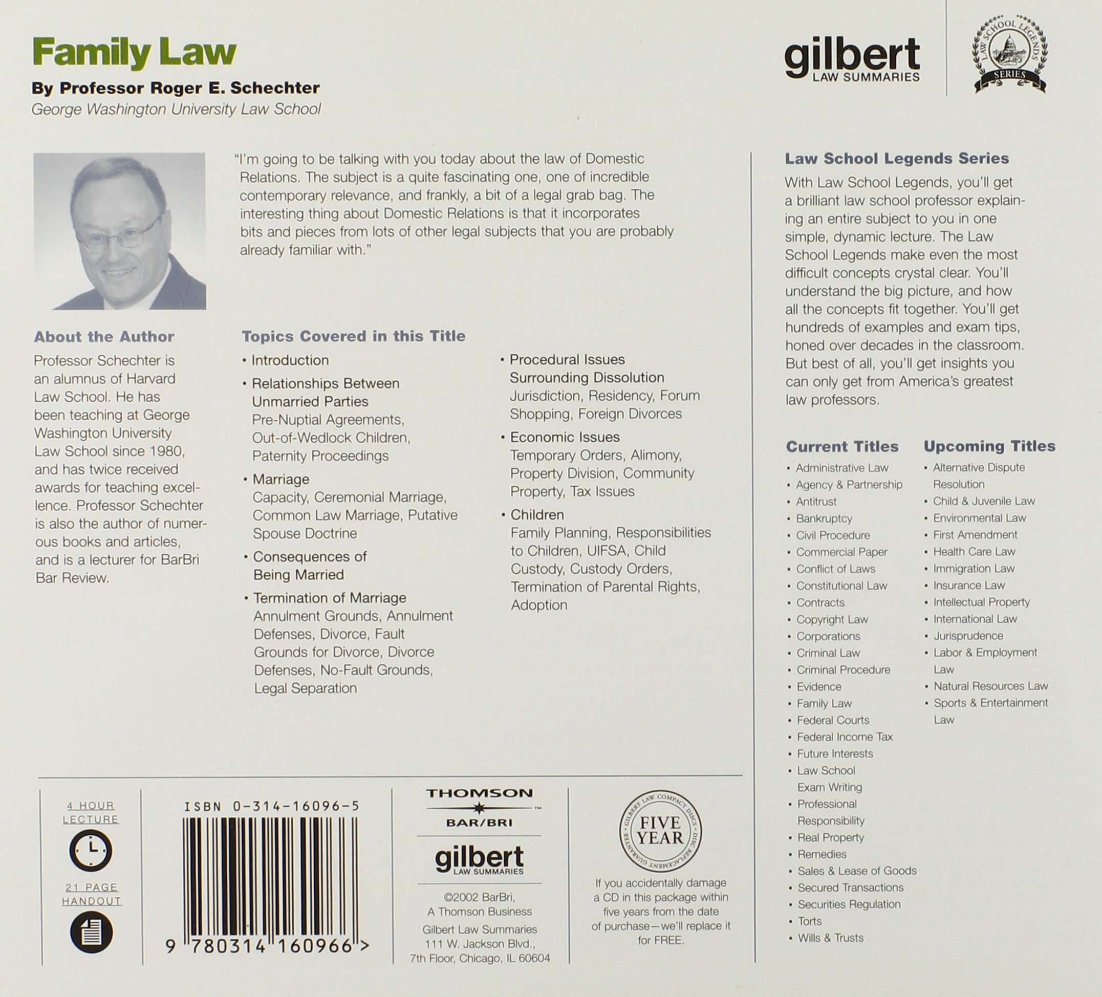 Family Law (Law School Legends Audio Series): Amazon.co.uk: Roger  Schechter: 9780314160966: Books