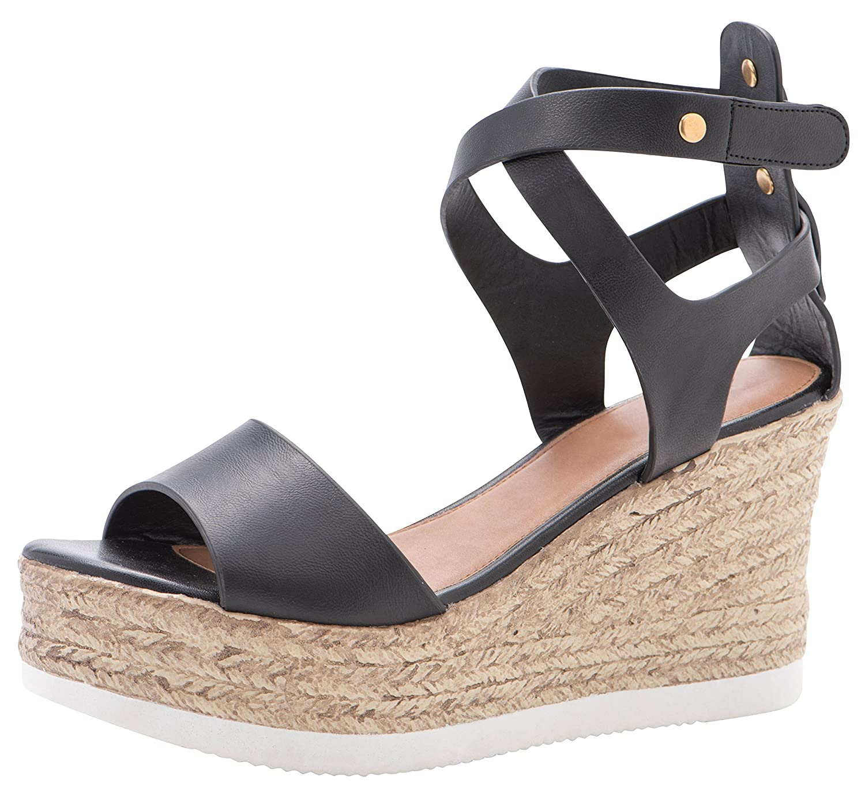 b13a4497823 Cambridge Select Women's Peep Toe Crisscross Ankle Strappy Espadrille  Platform Wedge Sandal
