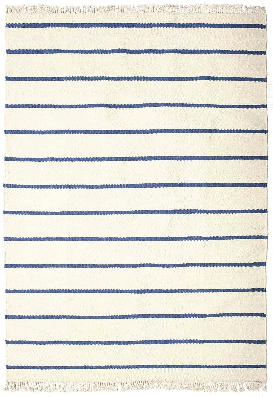 CarpetVista Dorri Stripe - Weiß Blau Teppich 160x230 Moderner Teppich