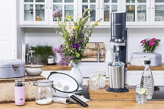 Mit spülmaschinenfester glasflasche für sprudelwasser inkl 1 zylinder und 2 glaskaraffen 06l farbe titan silber amazon de küche haushalt