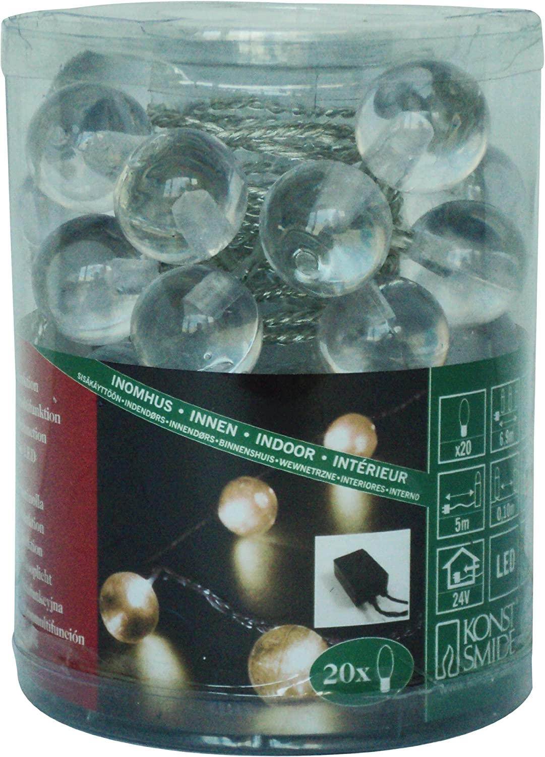 // Push in Replaceable Bulbs Outdoor Fairy Lights 240 Clear Christmas Lights Konstsmide 2080-000 Clear Traditional Fairy Light Set On Green Cable Outdoor Christmas Lights or Indoor Use IP20