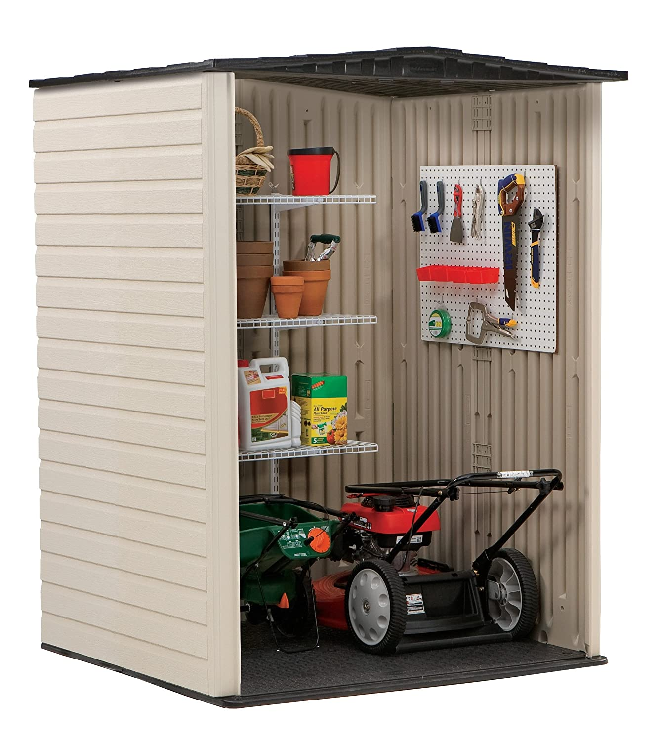 Amazon.com : Rubbermaid Roughneck Plastic Medium Vertical Storage Shed,  106 Cubic Feet, FG5L2000SDONX : Garden U0026 Outdoor