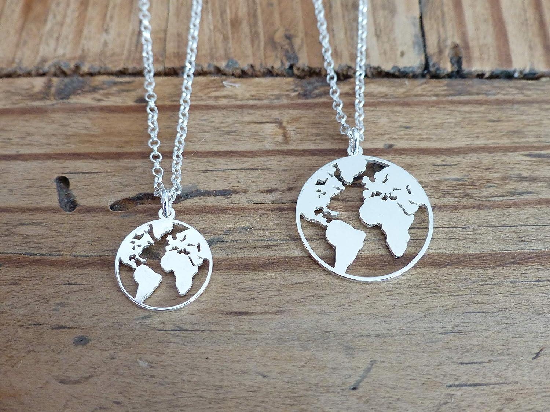 Mappemonde collier et pendentif en argent