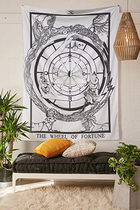 5c52ba5341 Muses Boutique Tarot The Wheel of FortuneTapestry Black and White Wall  Hanging Bohemian Hippie Ethnic Wall