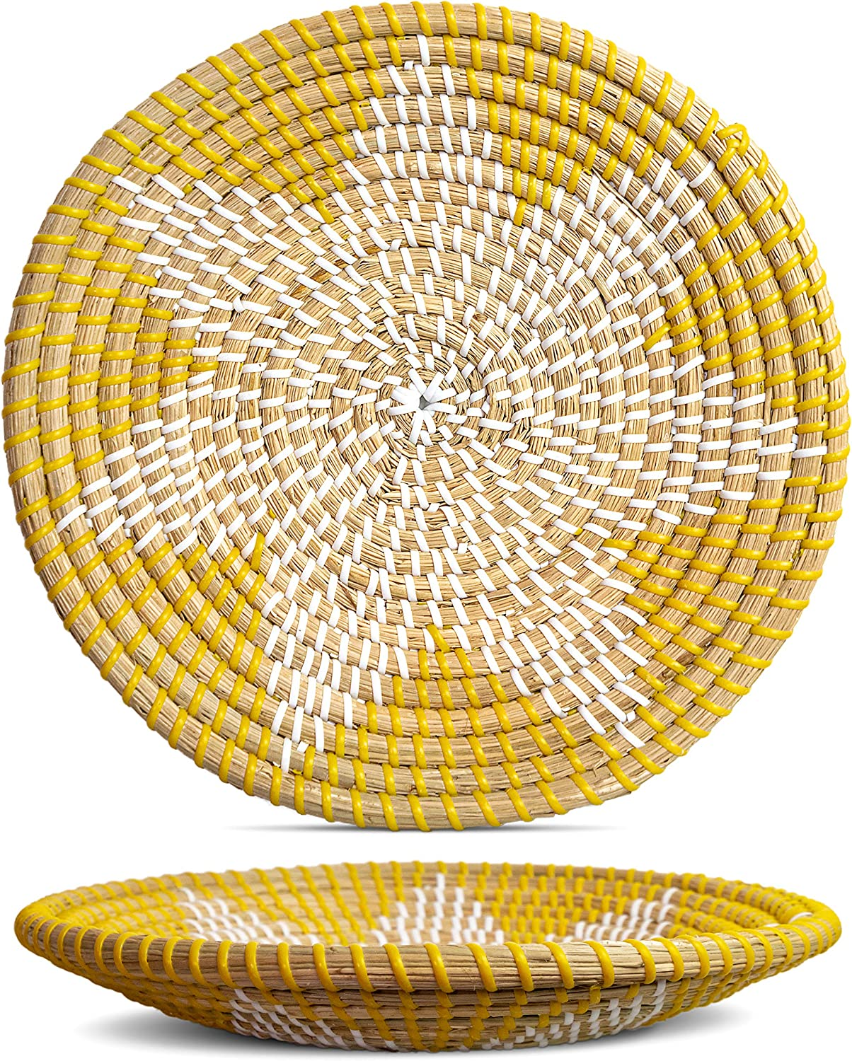 Handmade Wall Basket Decor | Woven Basket Wall Decor | Natural Boho Home Decor | Round Woven Basket | Hanging Wall Decor for Home Bedroom, Kitchen, Living Room | Decorative Seagrass Bowl - Goldenrod