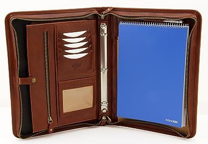 1d53051b4f9c Amazon.com : Noda Executive Leather Padfolio 3 Ring Binder ...