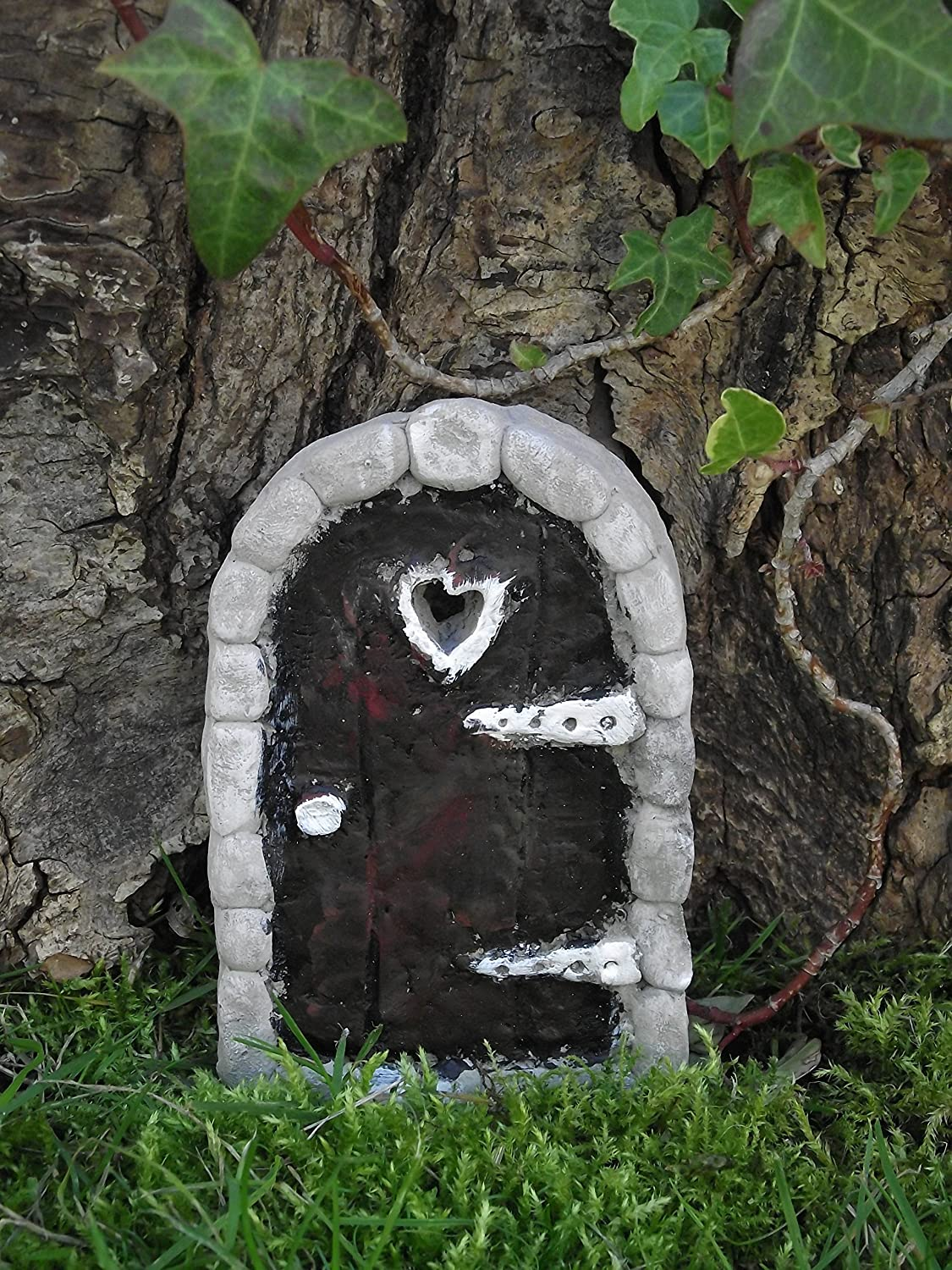 Stone Fairy Door Arched Design with Free Bottle of Magical Dust - Hand Cast & Hand Finished for your Fairy Garden Secret Fairy Door