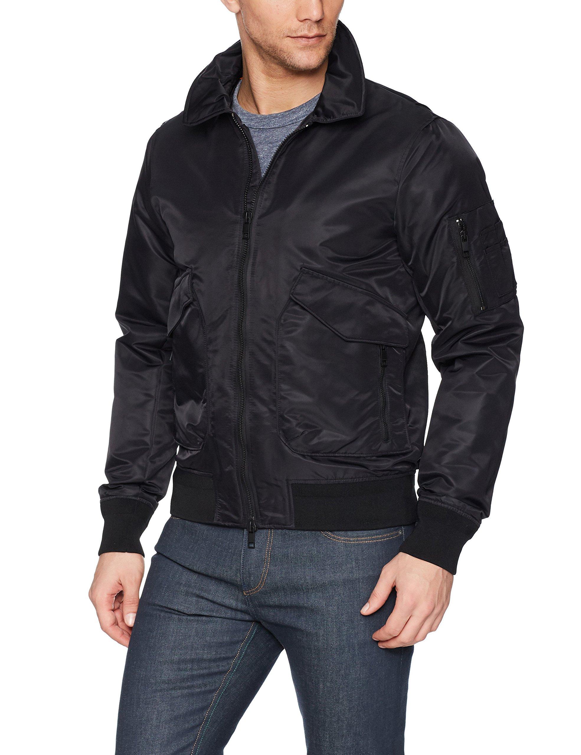 J.Lindeberg Men's Nylon Flight Jacket, Black, Large