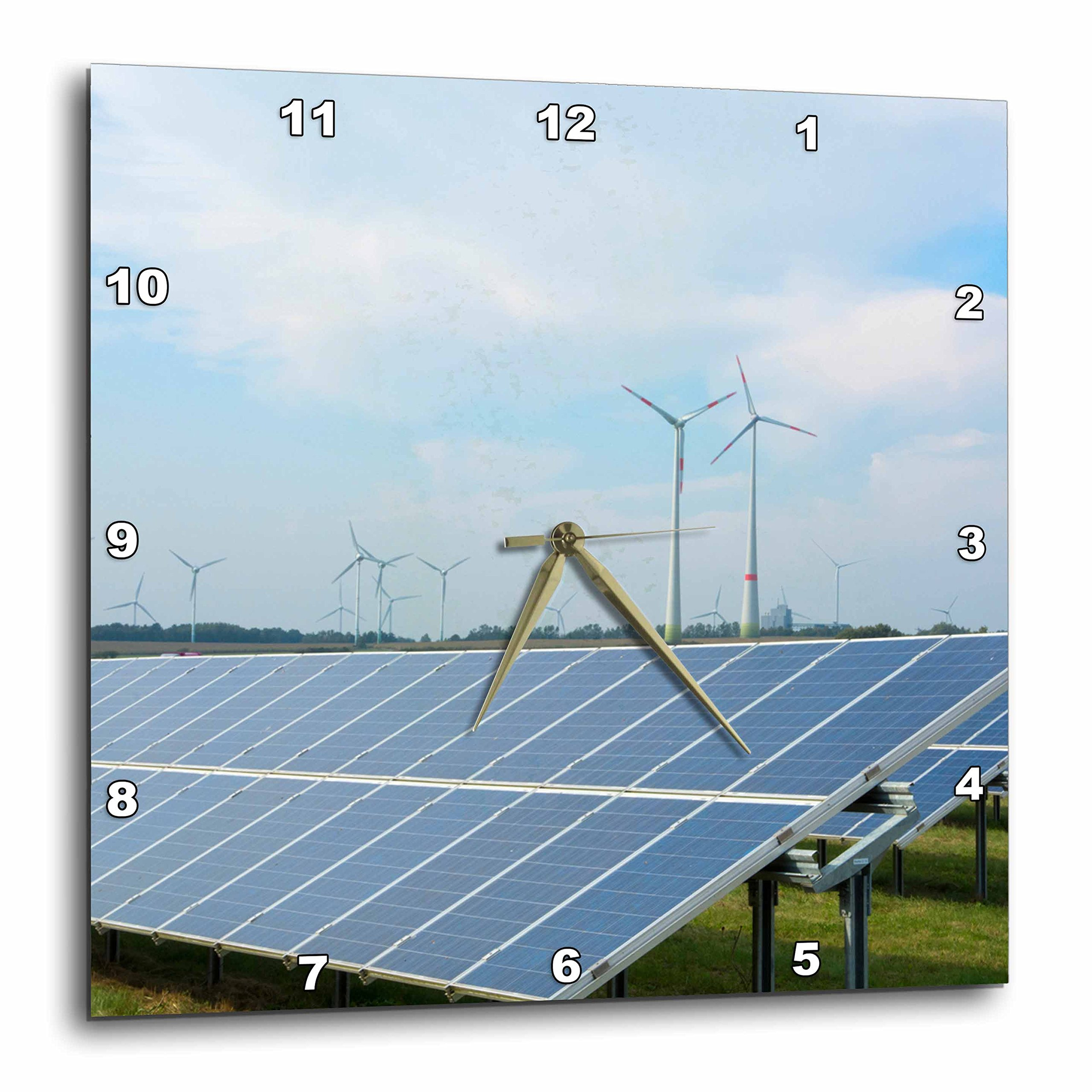 3D Rose Germany Wind Energy turbines and Solar Panels in Field - Hamburg Wall Clock, 15'' x 15''