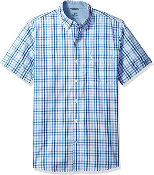 IZOD Mens Saltwater Short Sleeve Windowpane Button Down Shirt