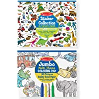 Melissa & Doug Sticker and Jumbo Coloring Pads Set: Animals, Sports, Vehicles, and More - 500+ Stickers, 50 Coloring…