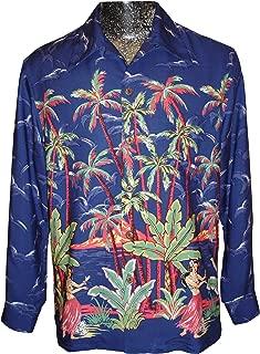 product image for Kamehameha Mens Hula Girl Palm Long Sleeve Shirt Blue S