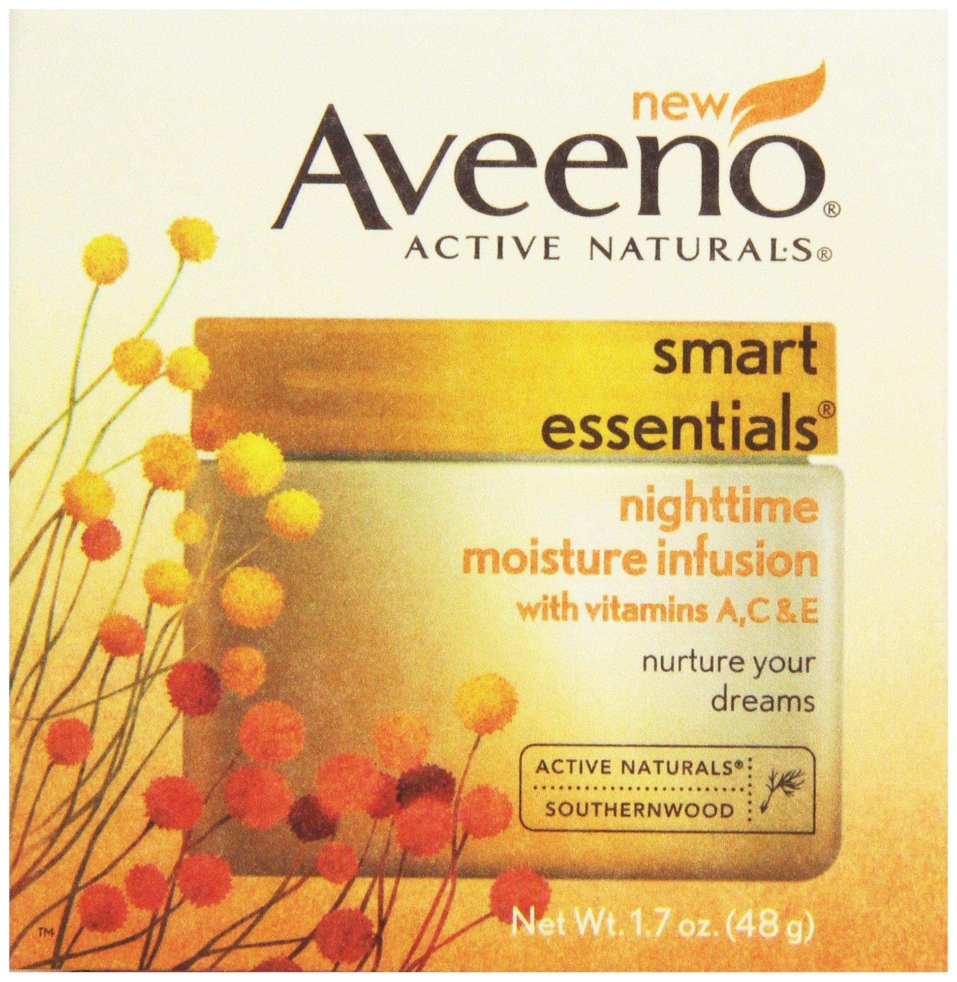 Aveeno, Facial Moisturizers Smart Essentials, Nighttime Moisture Infusion, 1.7 oz
